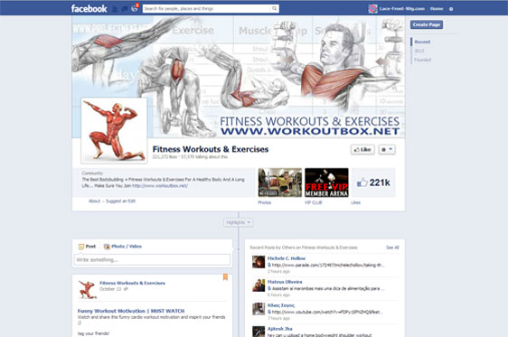 Fitness & Workout Facebook Fan Page Project