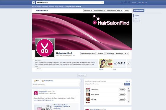 HairSalonFind Facebook Fan Page Project