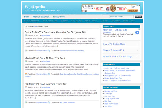 WigsOpedia Wordpress Blog Design